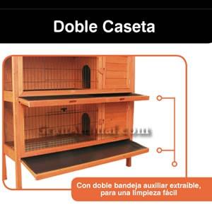 Doble Caseta de Madera para Conejos